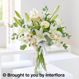 Thinking of You White Lily & Orchid Vase Arrangement