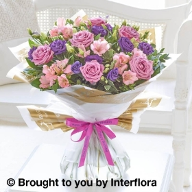 Happy Birthday Lilac Rose & Alstroemeria Hand tied with Happy Birthday Balloon